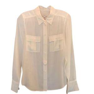 J. Crew Ivory 100% Silk Blouse Size 6